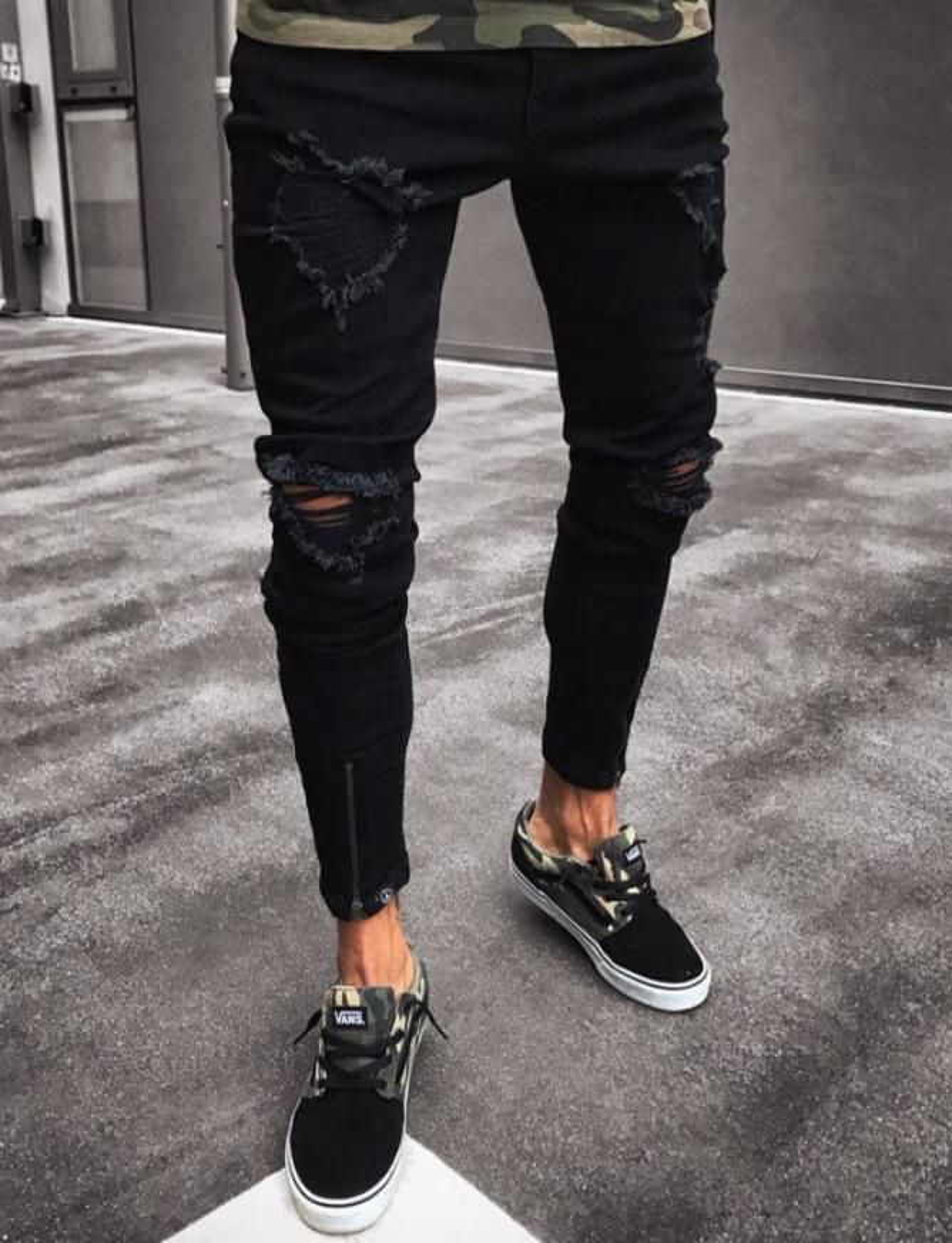 Jeans strappato nero