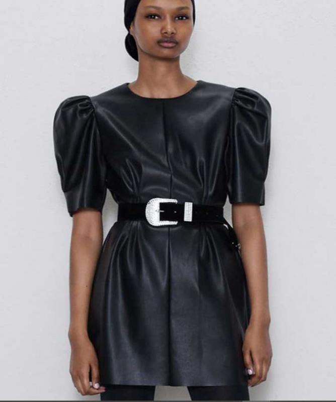 Vestito effetto pelle nero