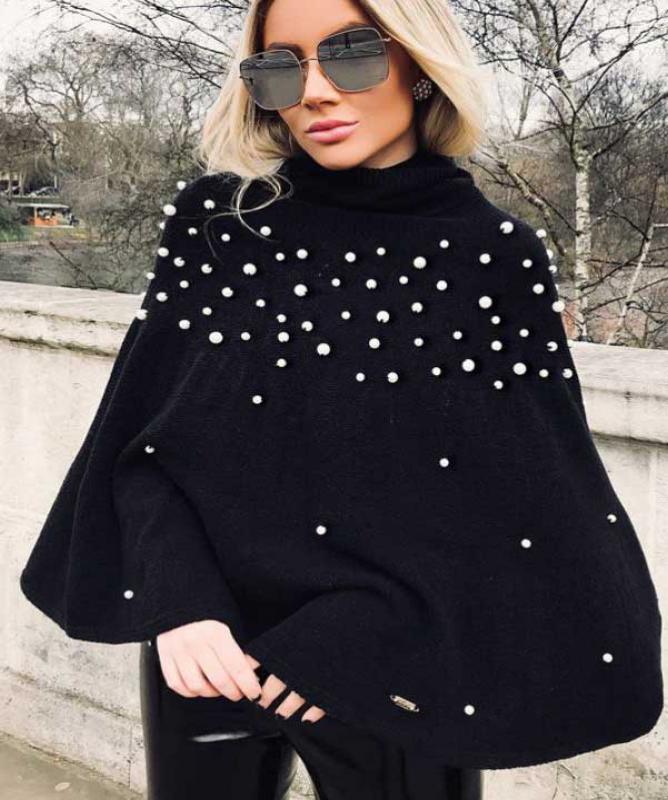 Maglione perle nero