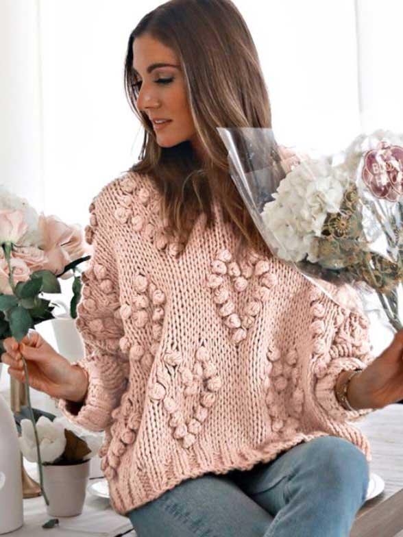 Maglione cuori rosa