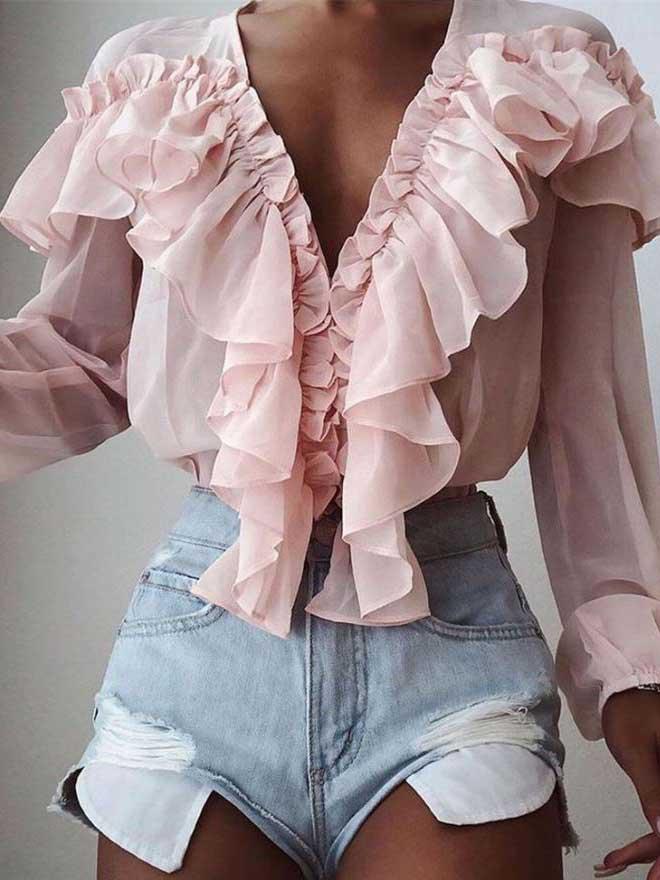 Camicia chiffon rosa