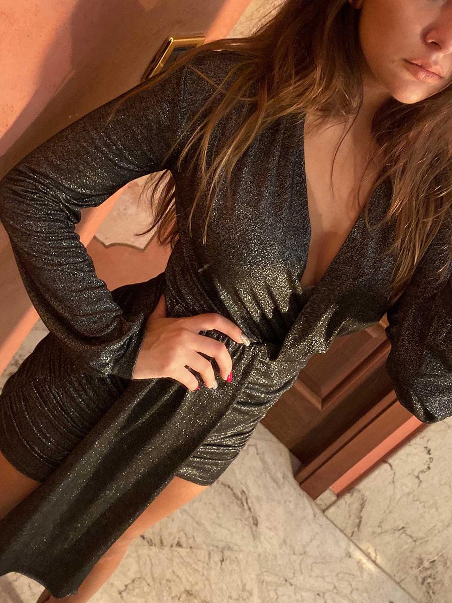 Vestito glitter grigiocolore