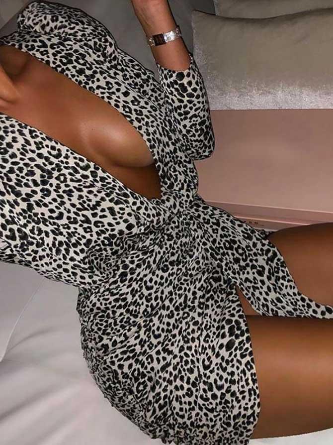 Vestito bianco e nero leopardato