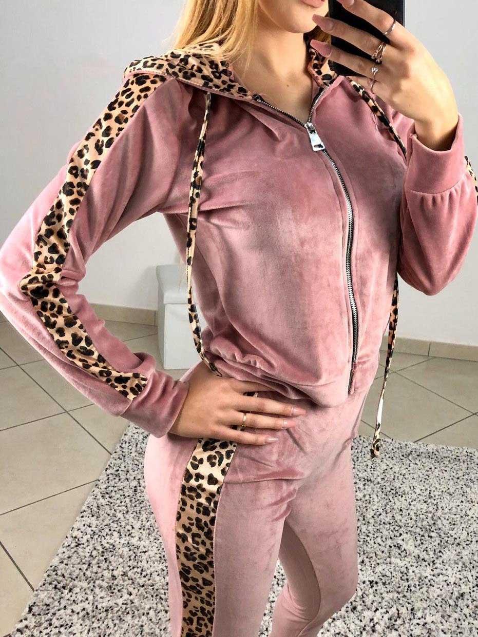 Completo tuta leopardato rosa