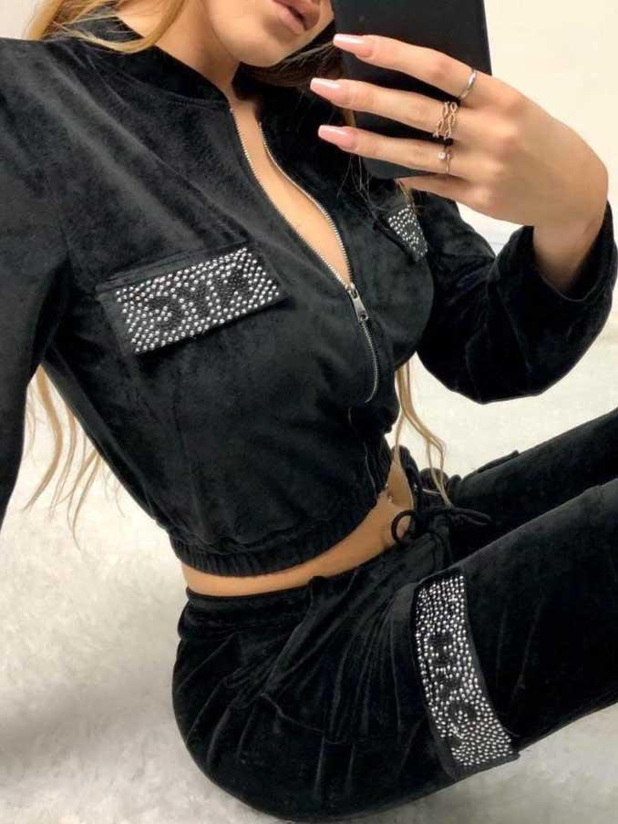 Completo tuta velluto nera