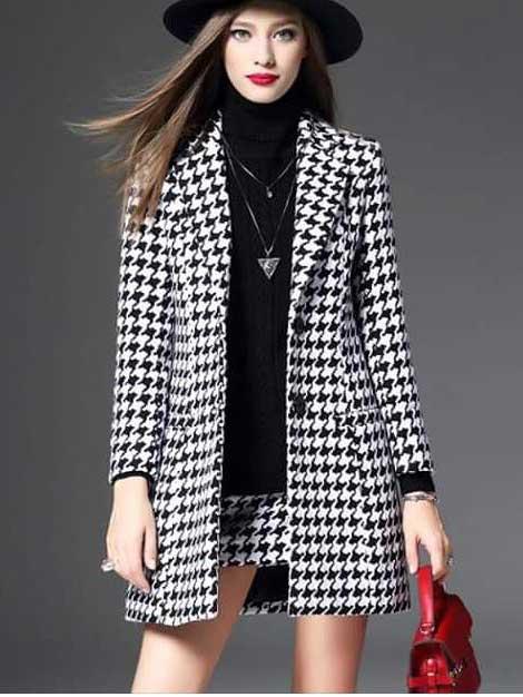 Cappotto nero e bianco nera bianca