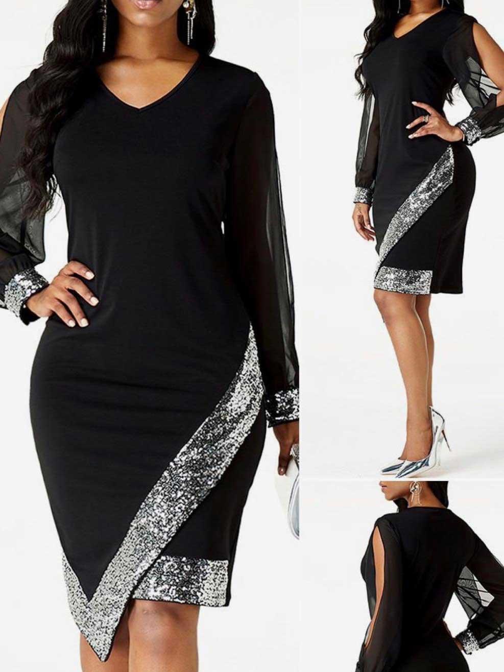 Vestito donna nero e paillette argento nero