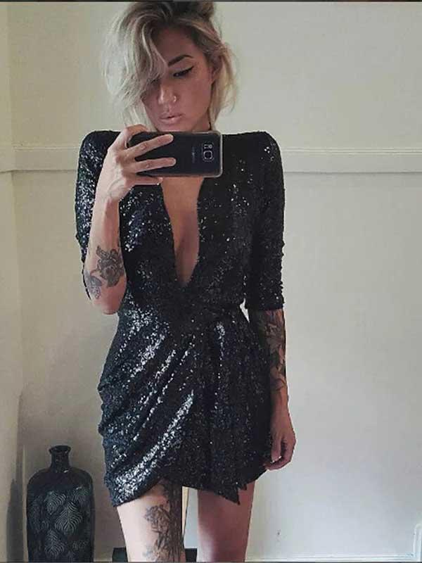 Vestito nero paillettes nero