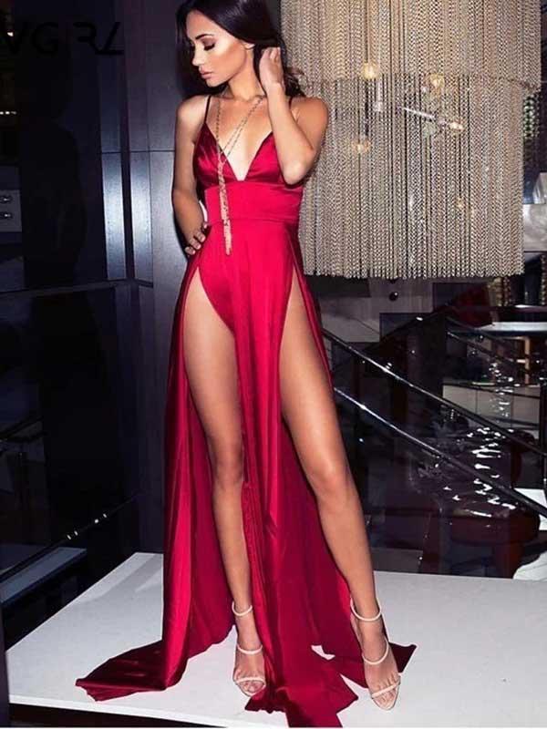 Vestito rosso spacchi rosso