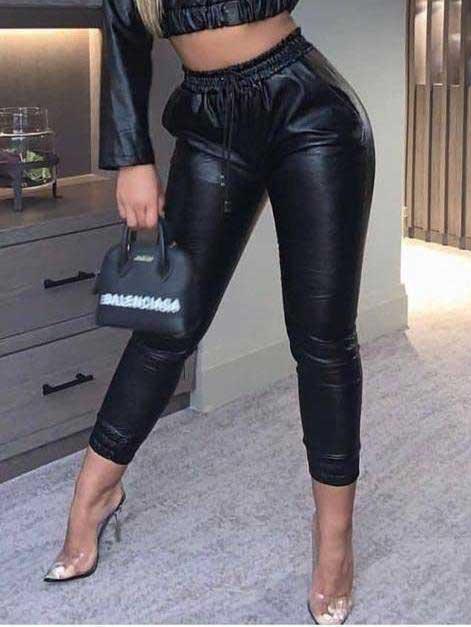 Pantalone effetto pelle nero