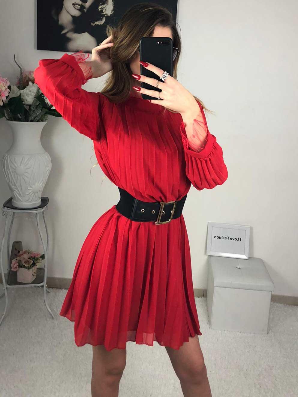 Vestito girocollo rosso