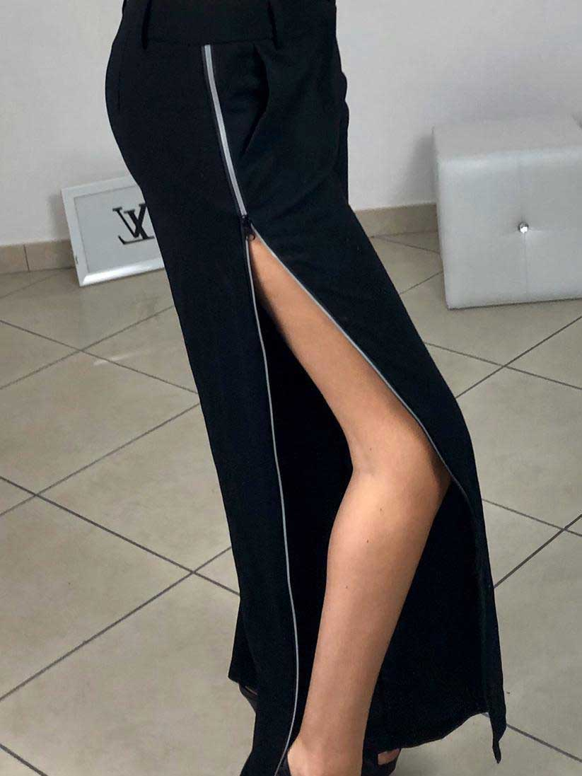 Pantalone con zip laterale nero
