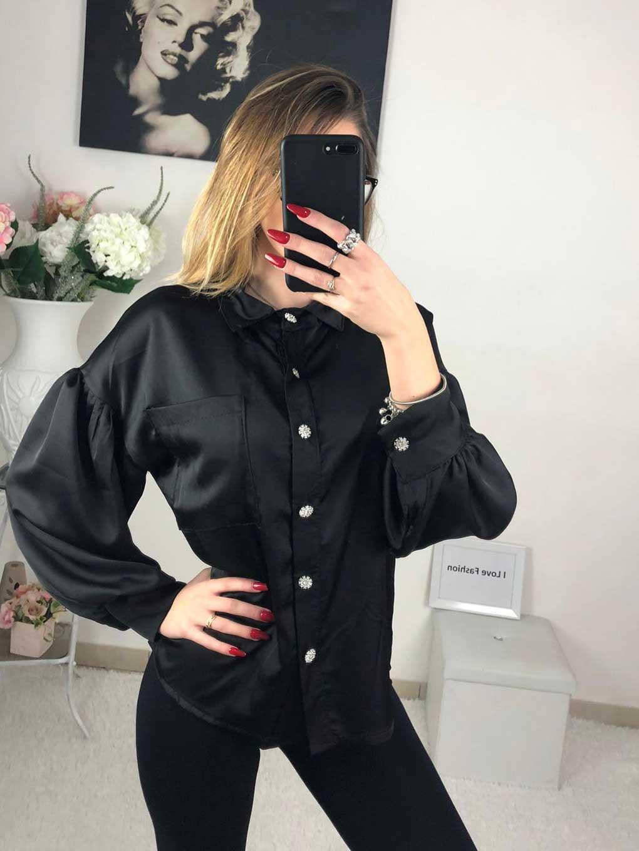 Camicia manica a sbuffo nera