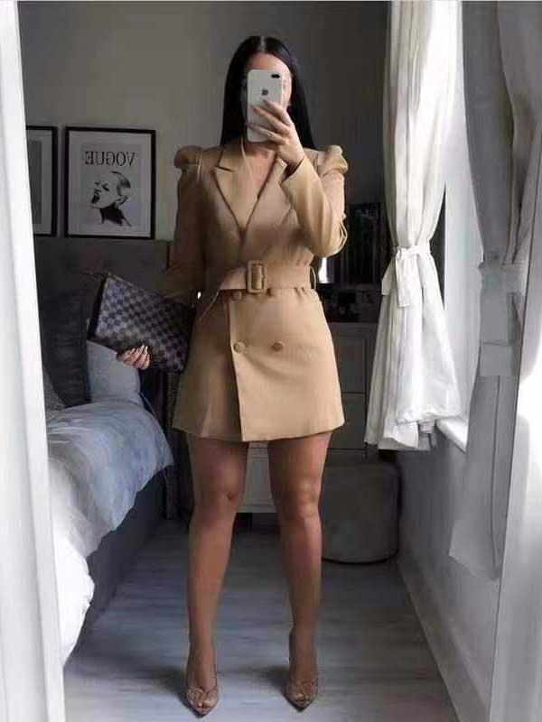 Blazer vestito beige beige