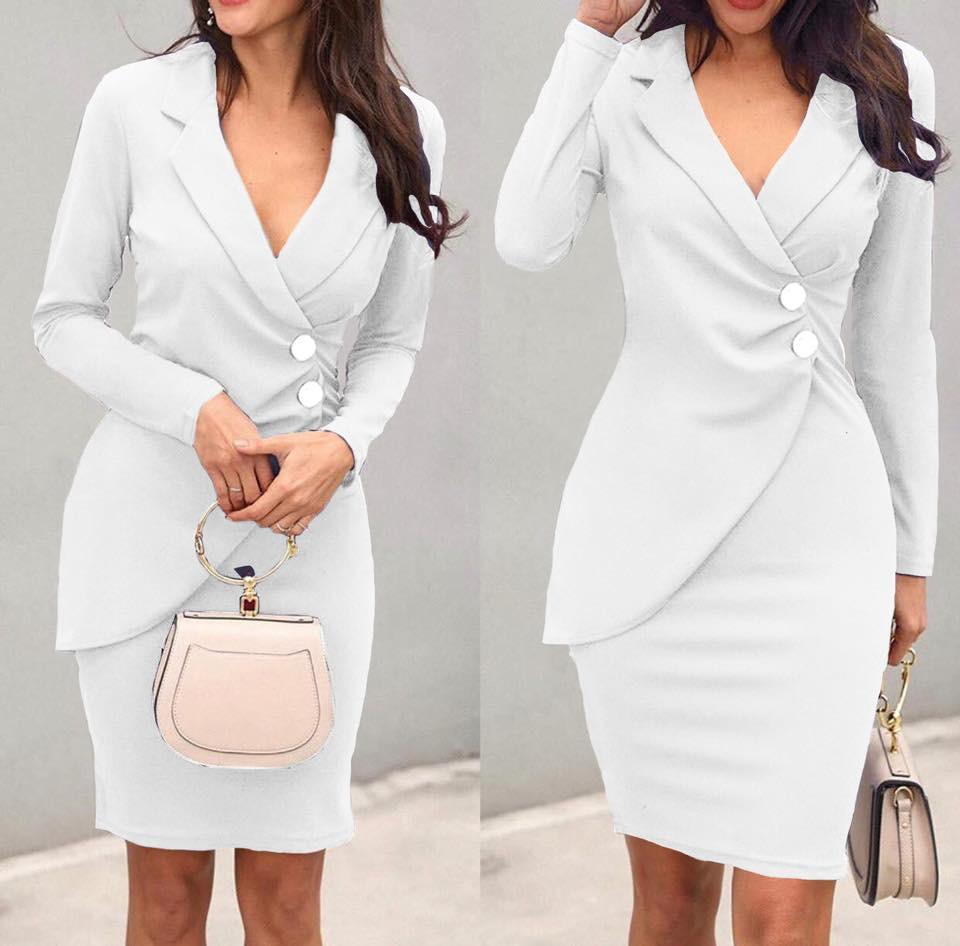 Vestito bottone bianco
