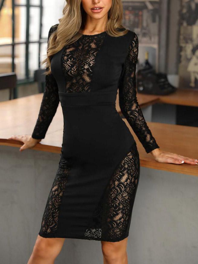 Vestito nero pizzo nero