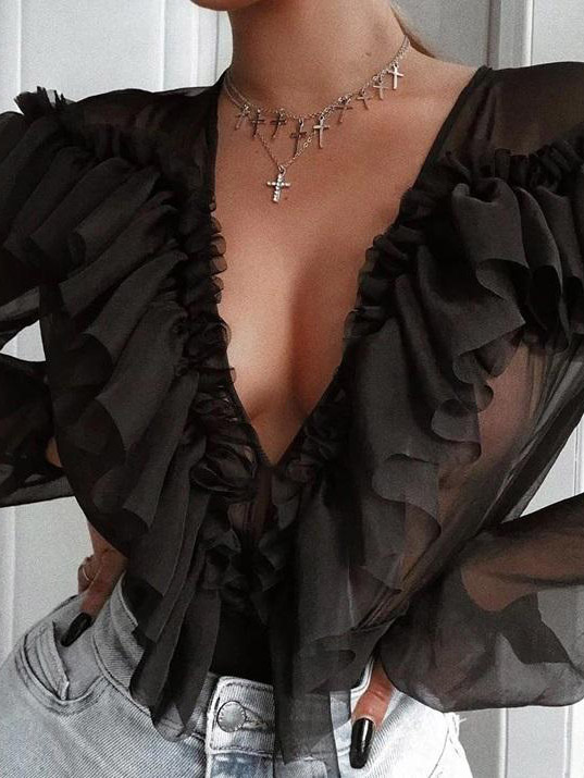 Camicia chiffon nera