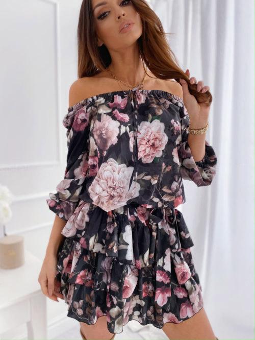 Vestito con fiori nerocolorenero