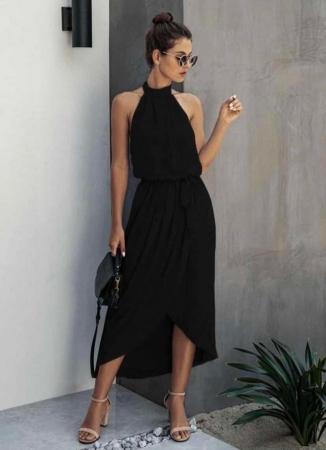 Vestito nero girocollo nero