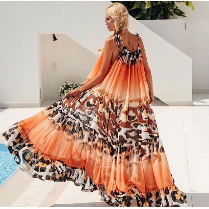 Vestito lungo arancione atancione