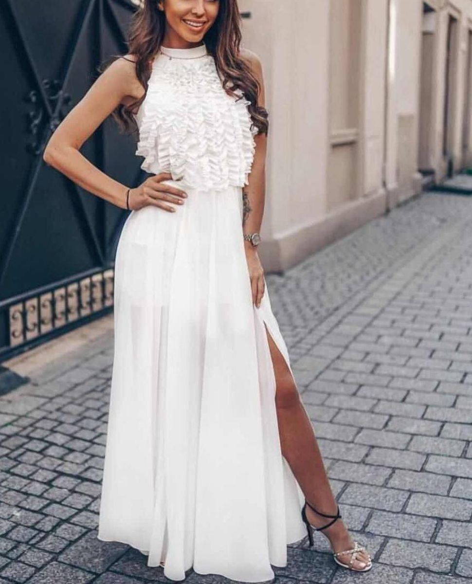 Vestito lungo tulle spacco laterale bianco