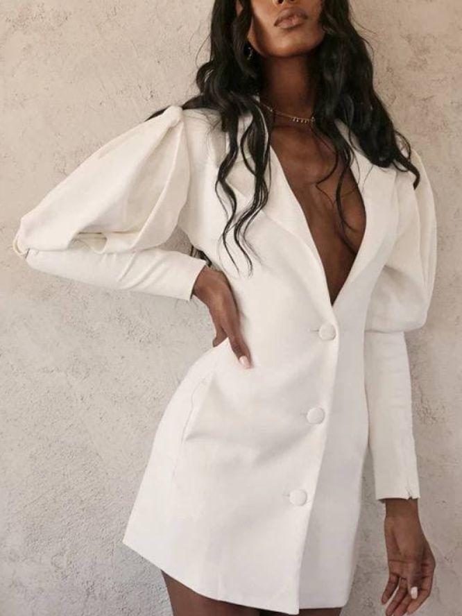 vestito manica a palloncino bianco