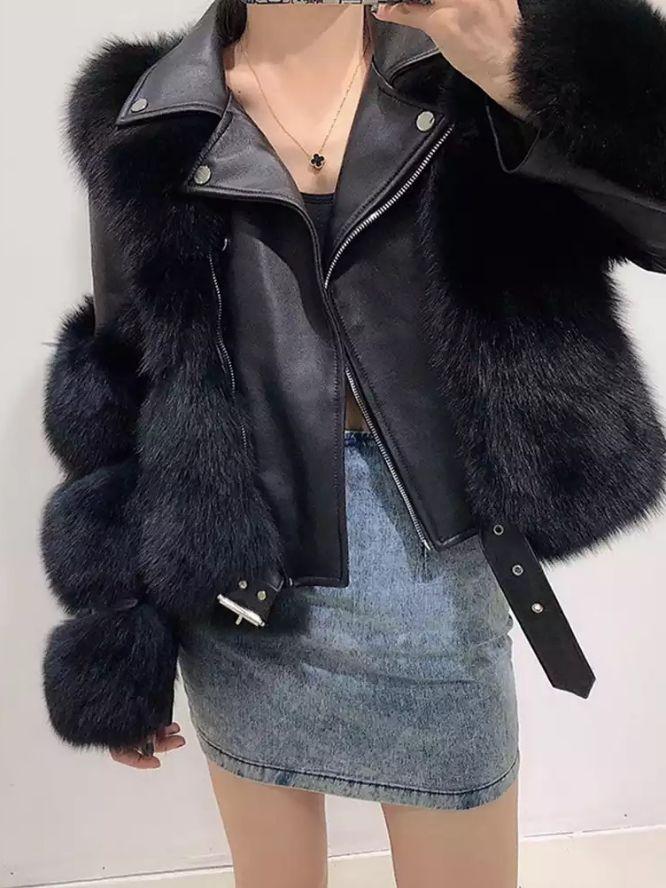 giacca con ecopelliccia