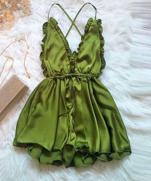 Tuta in raso lucido Verde