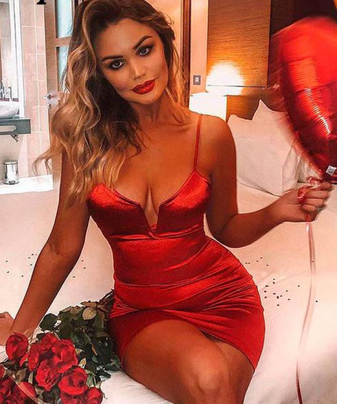 Tubino effetto lucido sexy rosso