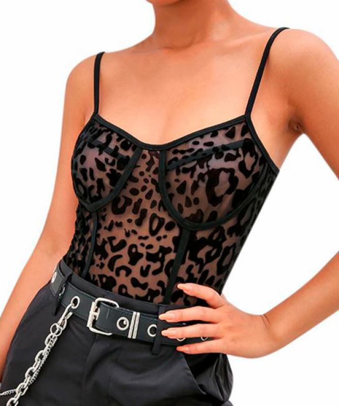 Body nero leopardato trasparente Nero