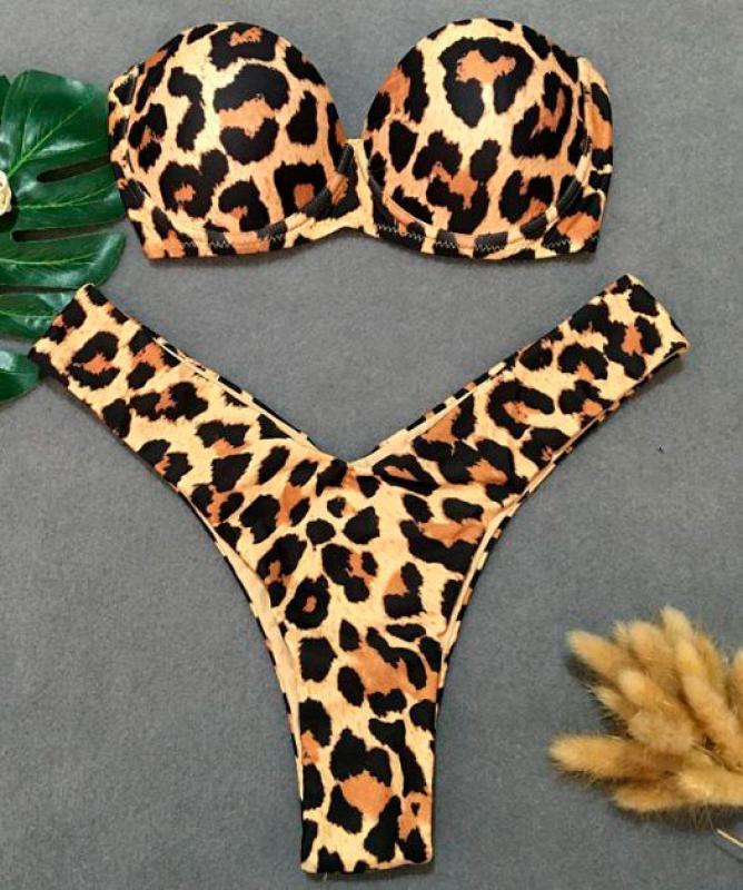 Bikini push up leopardato