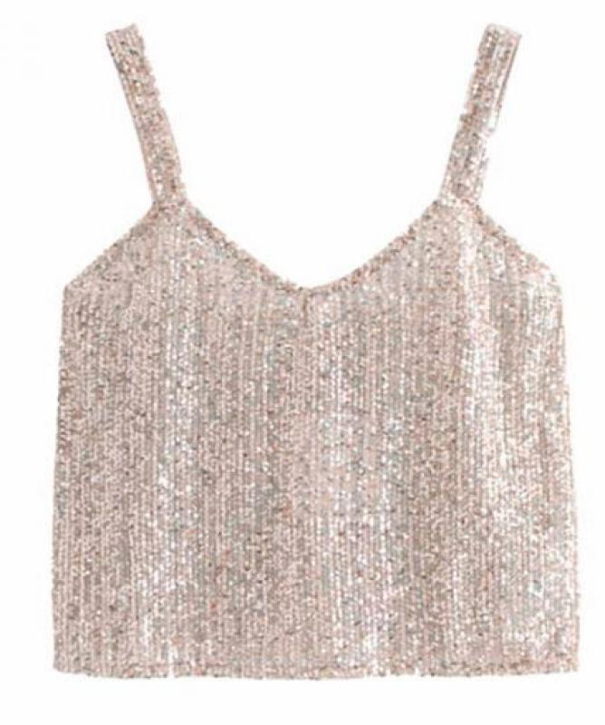 Top argento con paillettes