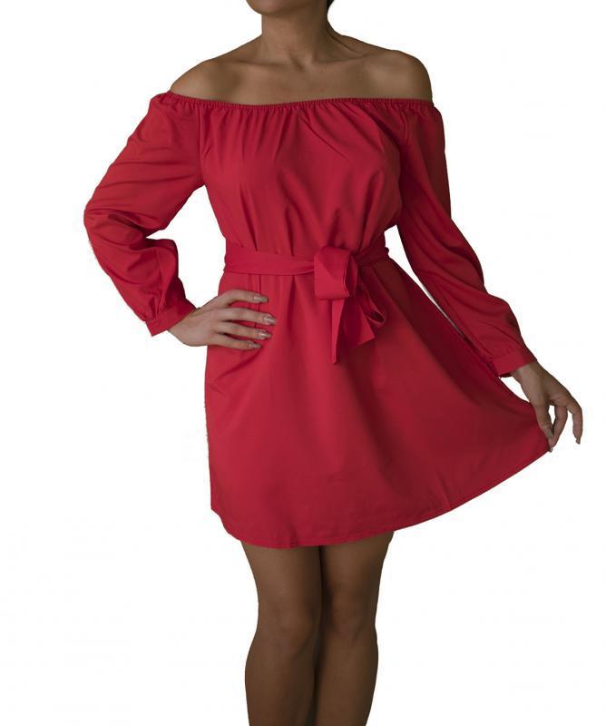 Vestito con scollo dritto Rosso