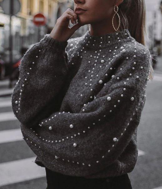 Maglione grigio con perle Grigio