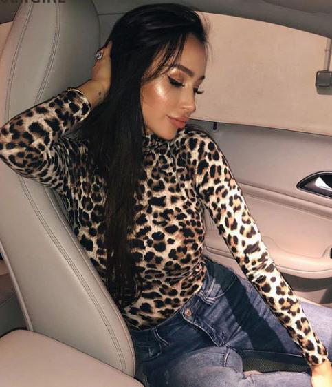 Body leopardato maniche lunghe Leopardato